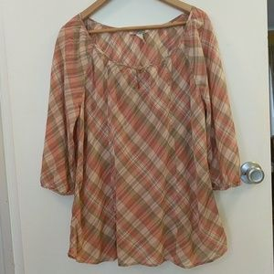 Plaid Summer Weight Peasant Blouse